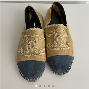 Yellow and blue Chanel espadrilles
